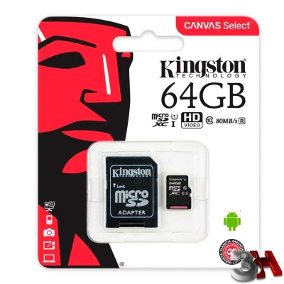 MICRO SD DE 64GB KINGSTON, CLASE 10, 80MB/S